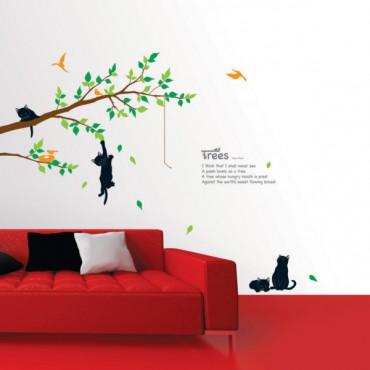 Sticker arbre et chats - dola & stickers muraux - fanastick.com
