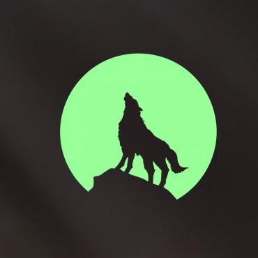 Sticker phosphorescent loup et la lune - stickers animaux & stickers muraux - fanastick.com
