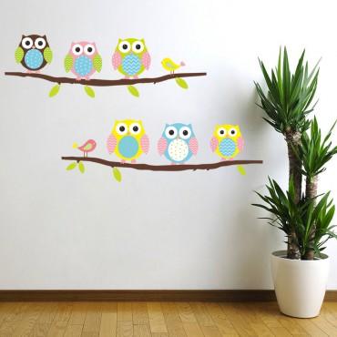 Sticker hiboux et oiseaux sur branche - stickers oiseaux & stickers muraux - fanastick.com