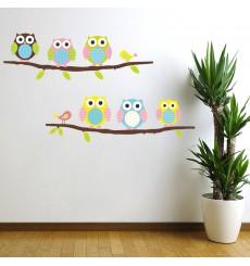 Sticker hiboux et oiseaux sur branche