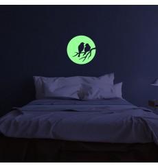 Sticker Phospho lune et oiseaux