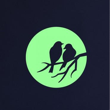 Sticker Phospho lune et oiseaux - dola & stickers muraux - fanastick.com