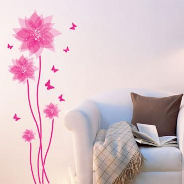 Sticker fleurs et papillons roses - stickers fleurs & stickers muraux - fanastick.com