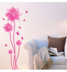 Sticker fleurs et papillons roses