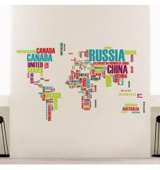 Sticker carte du monde noms de pays
