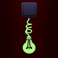 Sticker phosphorescent prise ampoule