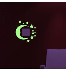 Sticker phospho lune et étoiles