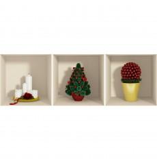 Sticker effet 3D Noël sapin et bougies