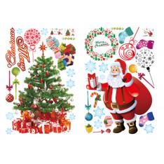 Sticker Père Noël, sapin et boules de Noël