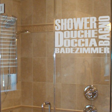 Sticker porte de Douche multilingues - stickers salle de bain & stickers muraux - fanastick.com