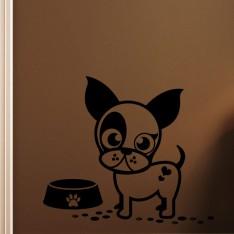 Sticker Caricature chiot avec son assiette