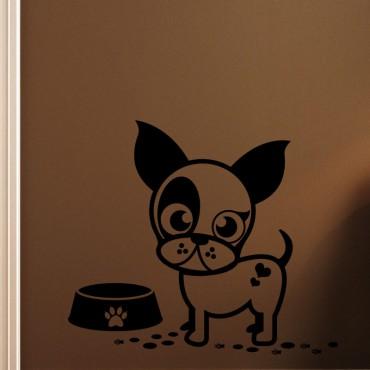 Sticker Caricature chiot avec son assiette - stickers chien & stickers muraux - fanastick.com