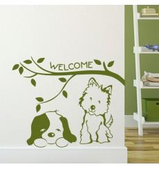 Sticker Chat et chien Welcome