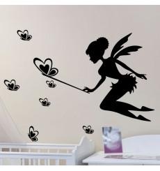 Sticker Fée partageant papillons