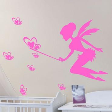 Sticker Fée partageant papillons - stickers chambre fille & stickers enfant - fanastick.com