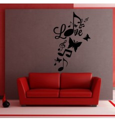 Sticker Love et notes de musique