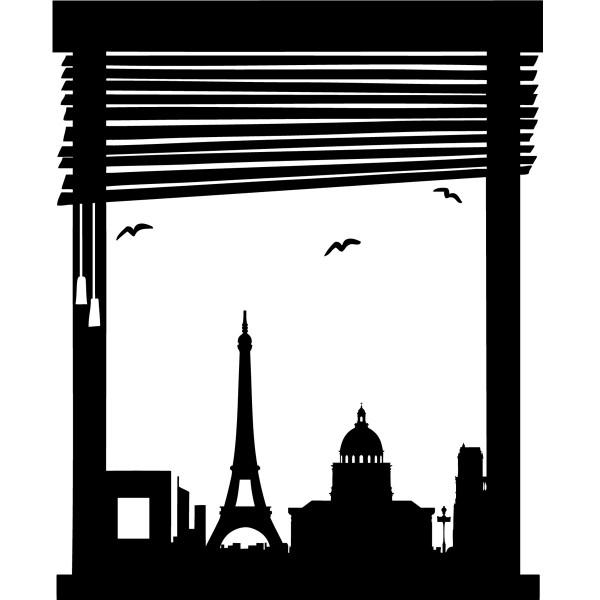 Sticker vue fen tre sur paris stickers paris stickers for Fenetre paris