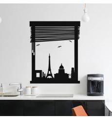 Sticker Vue fenêtre sur Paris