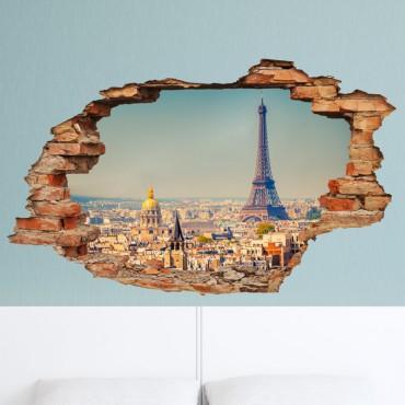 Sticker trompe l'oeil Vue sur Paris - stickers paris & stickers muraux - fanastick.com