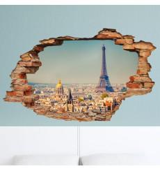 Sticker trompe l'oeil Vue sur Paris