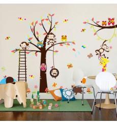 Sticker géant pour enfant - arbre, singe, girafe et oiseaux