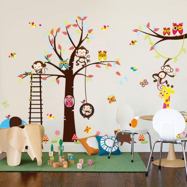sticker g ant pour enfant arbre singe girafe et oiseaux stickers animaux enfant stickers. Black Bedroom Furniture Sets. Home Design Ideas