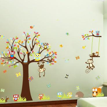Sticker Singes jouent sur les arbres - stickers animaux enfant & stickers enfant - fanastick.com