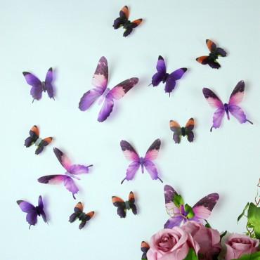 Sticker Papillons 3D violets - stickers papillons 3d & stickers muraux - fanastick.com