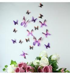 Sticker Papillons 3D violets