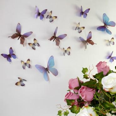 Sticker Papillons 3D bleus - stickers papillons 3d & stickers muraux - fanastick.com