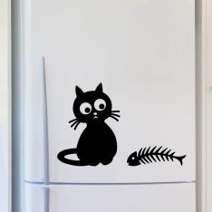 Sticker déco Chat et arêtes de poissons