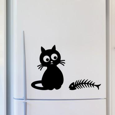 Sticker déco Chat et arêtes de poissons - stickers frigo & stickers muraux - fanastick.com