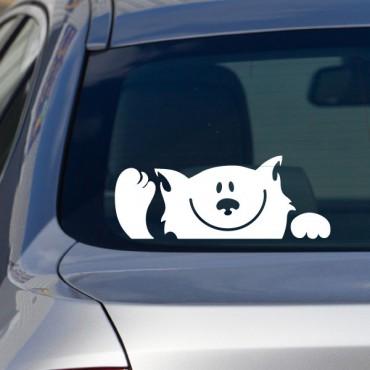 Sticker tête de chat qui fait signe - stickers animaux & stickers muraux - fanastick.com