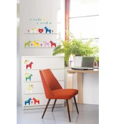 Sticker petits chevaux colorés
