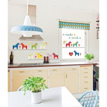 Sticker petits chevaux colorés - stickers chambre bébé & stickers enfant - fanastick.com