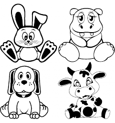 Sticker Lapin, hippopotam, chiot, veau