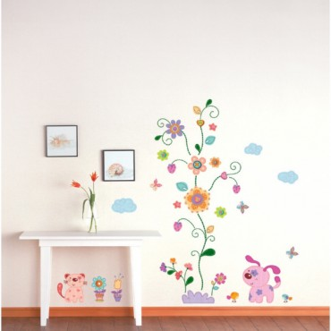Sticker Fleurs et chiots - stickers enfants & stickers enfant - fanastick.com