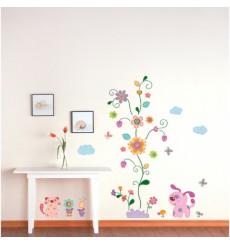 Sticker Fleurs et chiots