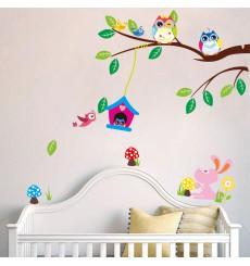 Sticker hiboux et cage oiseau sur un arbre