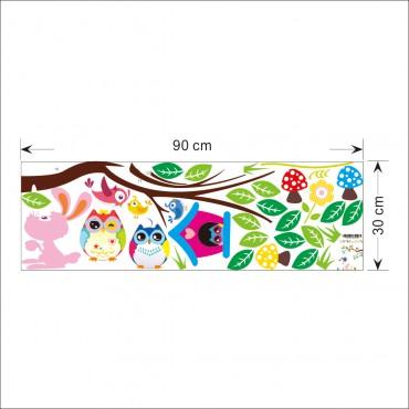Sticker hiboux et cage oiseau sur un arbre - stickers chambre bébé & stickers enfant - fanastick.com