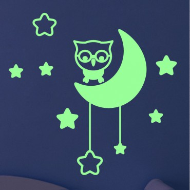 Sticker phospho hibou la lune - stickers phosphorescent & stickers muraux - fanastick.com
