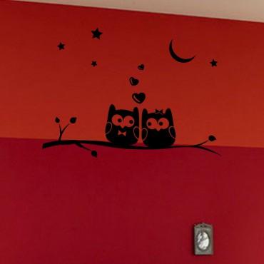 Sticker Hiboux amoureux - stickers chambre bébé & stickers enfant - fanastick.com