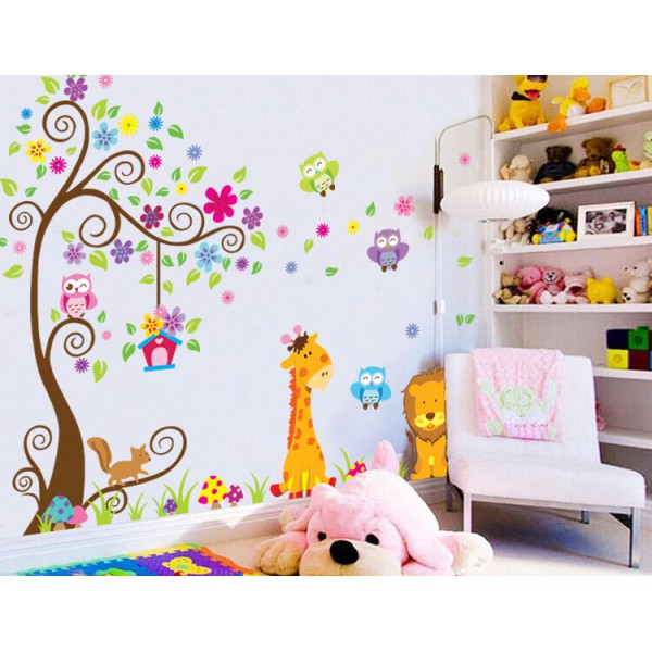 sticker g ant arbre fleurs girafe et lion stickers chambre b b stickers enfant. Black Bedroom Furniture Sets. Home Design Ideas