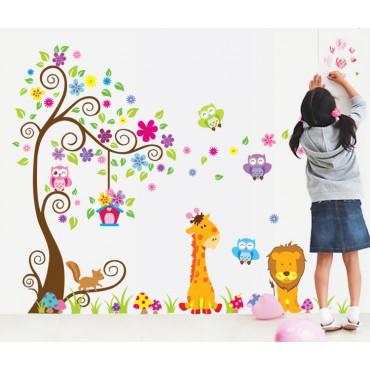Sticker géant - Arbre, fleurs, girafe et lion - stickers chambre bébé & stickers enfant - fanastick.com