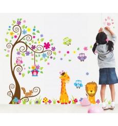 Sticker géant - Arbre, fleurs, girafe et lion