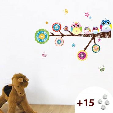 Sticker hiboux et étoiles - stickers chambre bébé & stickers enfant - fanastick.com