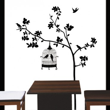 Sticker arbre et cage oiseau - stickers arbre & stickers muraux - fanastick.com