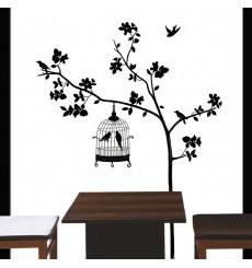 Sticker arbre et cage oiseau