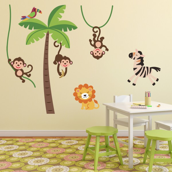 sticker animaux de la jungle stickers chambre b b stickers enfant. Black Bedroom Furniture Sets. Home Design Ideas
