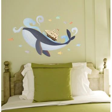 Sticker Baleine et Bateau Pirate - stickers animaux enfant & stickers enfant - fanastick.com